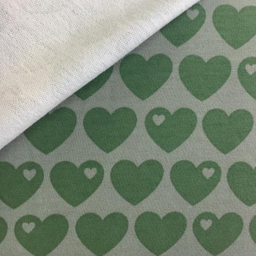 Baumwollsweat Herzen grün byGraziela