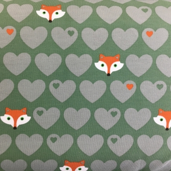 Baumwollsweat Herzen Fuchs grün byGraziela