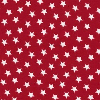 Interlock Sterne tango rot/weiß